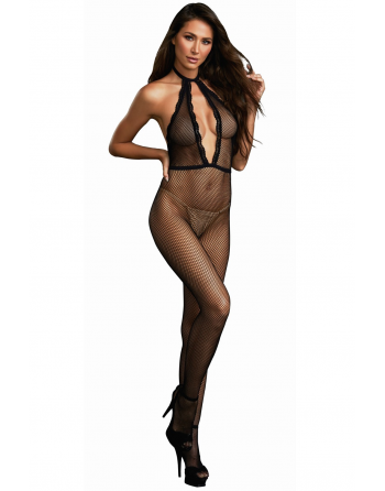 Bodystocking résille à encolure plongeante