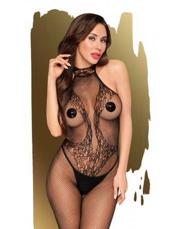 Bodystocking ouvert à l'entrejambe Noir First Lady