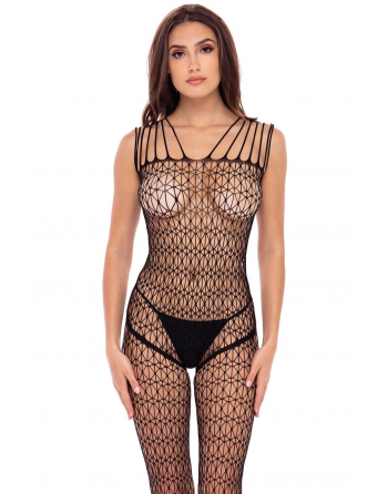 Bodystocking large maille ouvert à l'entrejambe