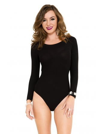 Body manches longues, opaque, encolure ronde  - ML8170BLK